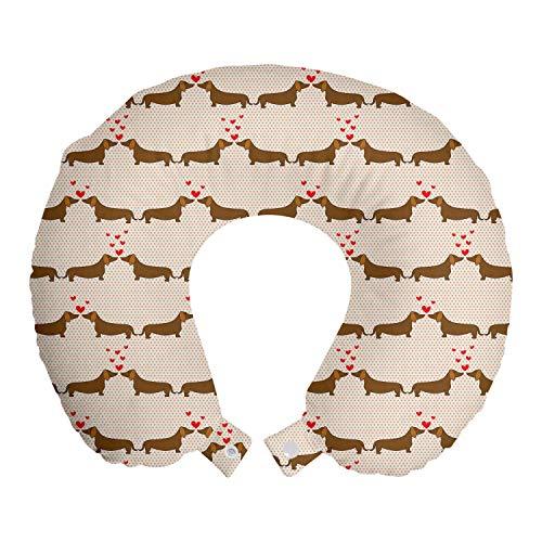 ABAKUHAUS Teckel Reiskussen, Worst Honden in Love, Reisaccessoire met Geheugenschuim voor Vliegtuig en Auto, 30 cm x 30 cm, Chocolate Vermilion