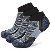 Wonewin Calcetines de Running, 3 paras Hombre y Mujer, Acolchados, Transpirables, Calcetines de Atletismo con Compresión de Arco, Anti-Rozaduras, Maratón,Fitness,Gimnasio (Azul, l)