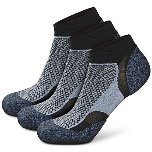Wonewin Calcetines de Running, 3 paras Hombre y Mujer, Acolchados, Transpirables, Calcetines de Atletismo con Compresión de Arco, Anti-Rozaduras, Maratón,Fitness,Gimnasio (Azul, x_l)