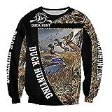 Suéter con capucha de la serie de caza del pato de la impresión 3D suéter de la cremallera de la moda unisex, Negro, L