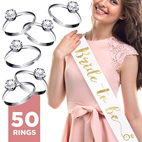 Bride To Be Sash + Set of 50 Silver Plated Rings