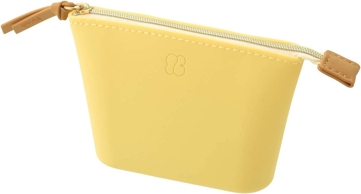 LIHITLAB Bloomin Soft Silicone Wide Top Opening Organizer Zippered Pouch, Small, Lemon Yellow