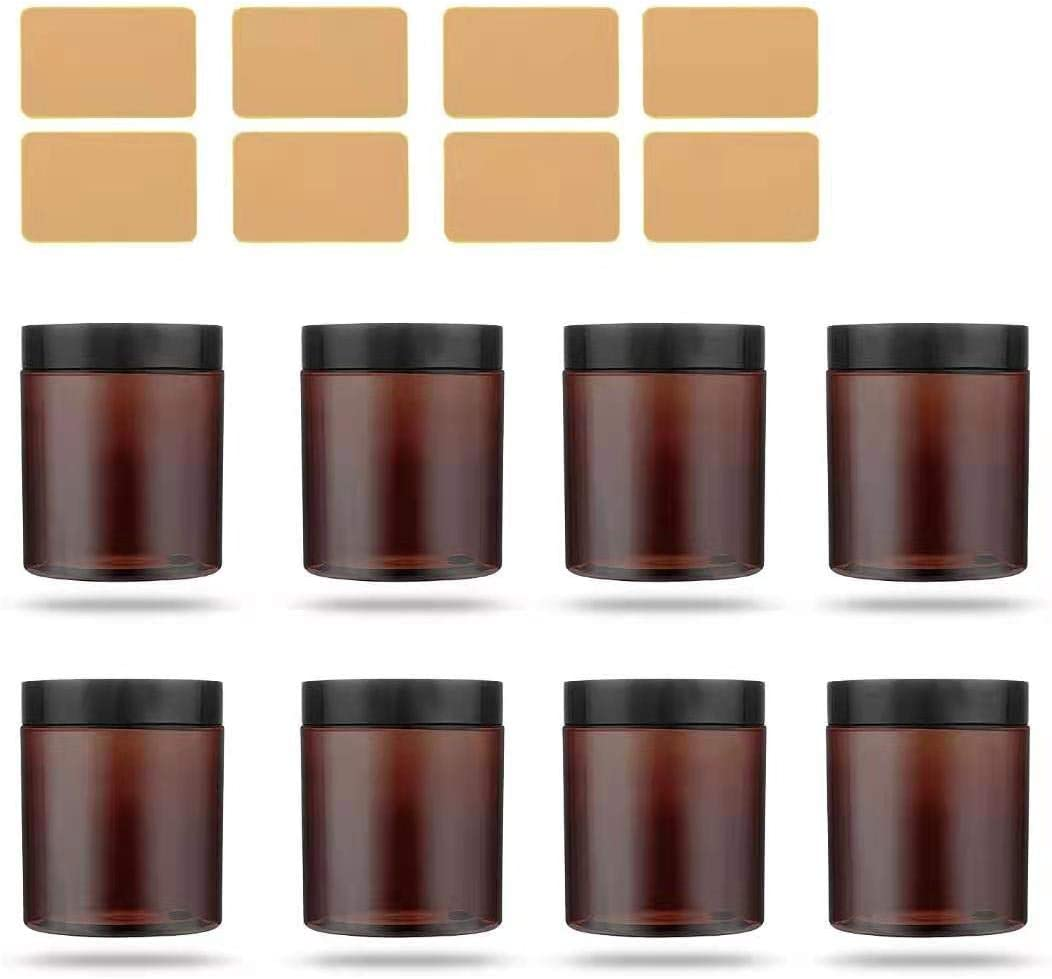 8oz Plastic Amber Mason Jars 8 Pack,Round Mason Canning Jars with Black Plastic Lids for Food Storage,Lotion,Arts & Crafts,Creams,Butter,Cosmetics,Powders & Ointments,6 Yellow Labels Included