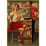 Seconda Guerra Mondiale Rosso Pin-Up delle Ragazze URSS Sovietica Vintage Retro Poster Bar Cafe Soggiorno Tela Pittura Poster Pittura Frameless 40X50 Cm (F: 0787)
