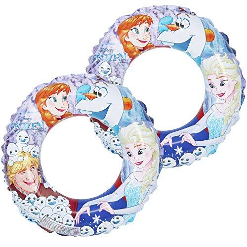 com-four® 2X Schwimmreifen aus dem Disneyfilm Die Eiskönigin - Schwimmring mit Motiven von Anna, ELSA, Olaf und Kristoff (02 Stück - Ø 45cm Die Eiskönigin)