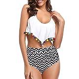 Scra AC Traje de baño de cintura alta bikini traje de baño para mujer con pompón con volantes, traje de baño sexy con borla, camisola dividida (color: blanco, tamaño: L)