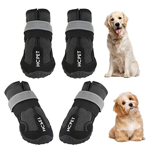 Ufanore Dog Boots, Outdoor Waterproof Dog Boots with Reflective Strip and Adjustable Straps Rugged Anti-Slip Sole Dog Shoes 4 Pcs (7#: 3.15''x2.75''(LW), Black)