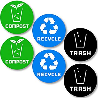 4 Pack (4in x 4in) Recycle Logo and Trash can Sticker to Organize Your Trash - for Trash cans, Garbage containers and Recycle Bins - Premium Vinyl Decal