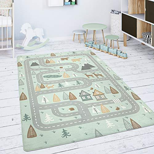 Paco Home Kinderteppich Teppich Kinderzimmer Spielmatte Babymatte Straße Bär Elch Bäume Grün Grau, Grösse:120x160 cm