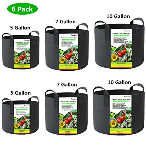 SYOURSELF 6 Pack 5/7 / 10 Gallon Grow Bags, Aeration Fabric Pots with Handles-400GSM Non-Woven Durable Thickened Plant Containers for Nursery Garden Home Vegetable, Fruit, Tree+6 Waterproof Labels