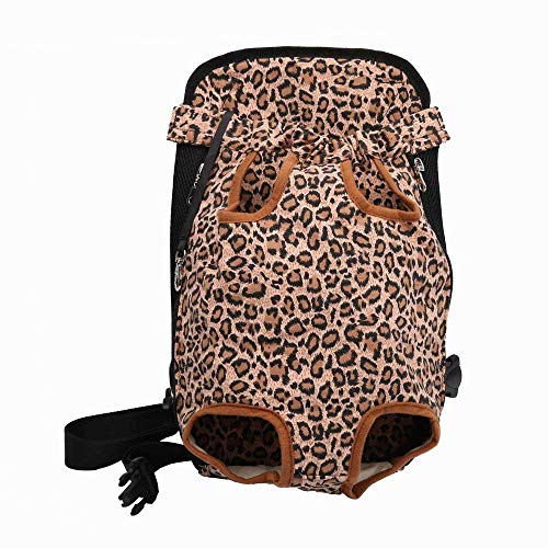 Riveroy Legs-Out Front Pet Dog Carrier,Hands-Free Adjustable Backpack Travel Bag for Small Medium Puppy Doggie Cat Bunny Breeds Outdoor (XL, Leopard)