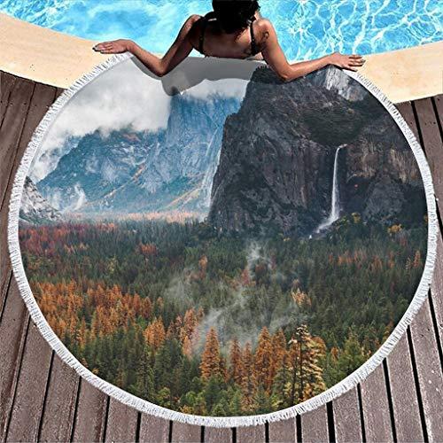 Toalla de playa redonda con diseño de paisaje bosque y montañas, para la playa, para picnic, para hombre y mujer, de secado rápido, multiusos, con borla, 150 cm, color blanco