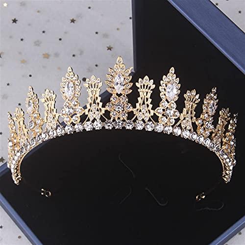 Barroco Vintage Gold Crystal Leaf Conjuntos de joyas nupciales Rhinestone Boda Corona Tiara Pendientes Collar Conjunto de joyas de cuentas africanas (Color de metal: 1Pcs Corona)