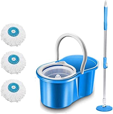 DAIVE's ABI CLEANING SOLUTIONS 360° Spin Floor Clean Bucket PVC Mop with 3 Microfiber Refill with Wheels (Blue)
