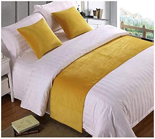 QIUhoodies Bed Runner Décoratif Chemin de Lit Couleur Unie Velours Coton extrémité de lit Serviette Chemin de lit Fin de lit Coussin Housse de lit hôtel hôtel literie