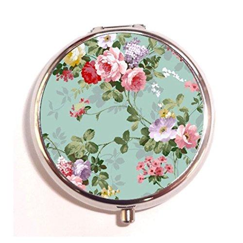 Vintage Floral Custom Round Silver Pill Box Pocket 2.1 inches Medicine Tablet Holder Organizer Case for Purse