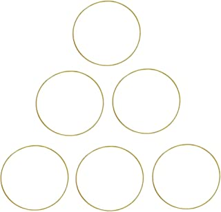Fasdu 6Pcs 12 inches Gold Metal Ring Metal Dream Catcher Dreamcatcher Ring Macrame Craft Hoops