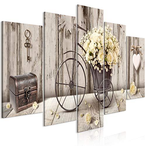 decomonkey Bilder Blumen Vintage 200x100 cm 5 Teilig Leinwandbilder Bild auf Leinwand Wandbild Kunstdruck Wanddeko Wand Wohnzimmer Wanddekoration Deko Holz Fahrrad Retro
