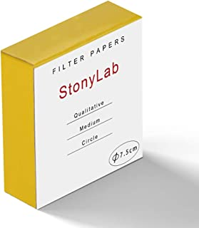 StonyLab Qualitative Filter Paper Circles, 75mm Diameter Cellulose Filter Paper with 20 Micron Particle Retention Medium F...