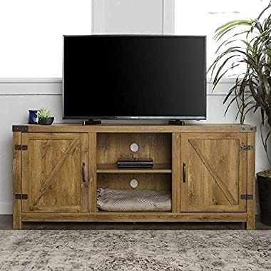 Home Accent Furnishings New 58 Inch Door Television Stand with Side Doors (Barnwood)