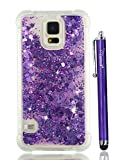 S5 Case for Women, Cattech Glitter Liquid Sparkle Floating Luxury Bling Quicksand [Drop Protection] [Non-Slip Grip] Slim Clear TPU Protective Phone Cover Case for Samsung Galaxy S 5 + Stylus (Purple)