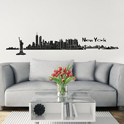 Wandkings Skyline - Deine Stadt wählbar - New York - 125 x 20 cm - Wandaufkleber Wandsticker Wandtattoo