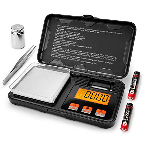 JamBer Digital Milligram Pocket Scales 0.001g x 50g, Electronic Weighing Scales for Jewelry Coins Reload and Kitchen, 6 Mode Mini Gram Scale with Calibration Weights Tweezers and Weighing Pans
