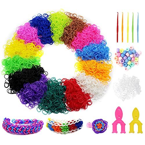 4,860+ Loom Rubber Bands Refill Set: 4500 Loom Bands+300 Clips+55 Pony Beads, Loom Bracelet Making Kit for Weaving Craft, Boy&Girl DIY Gift