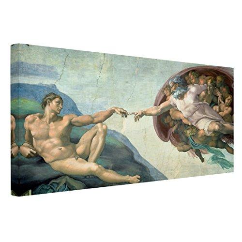 Bilderwelten Cuadro en Lienzo - Michelangelo - La Capilla Sixtina: La Creación de Adán - Apaisado 1:2, Cuadro Lienzo Cuadro sobre Lienzo Cuadro Decoracion Cuadros Decorativos, Tamaño: 80 x 160 x 2cm