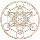Fourth Level Mfg. Designs Cubo de Metatron, arte de pared de madera que cuelga la decoración casera, arte de la geometría sagrada, escultura de madera decoraciones de pared 12 pulgadas Madera natural