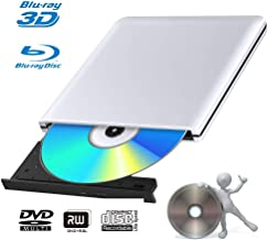 External 3D Blu Ray DVD Drive Burner, Portable Ultra Slim USB 3.0 Blu Ray BD CD DVD Burner Player Writer Reader Disk for Mac OS, Windows 7/8.1/10/Linxus, Laptop, PC