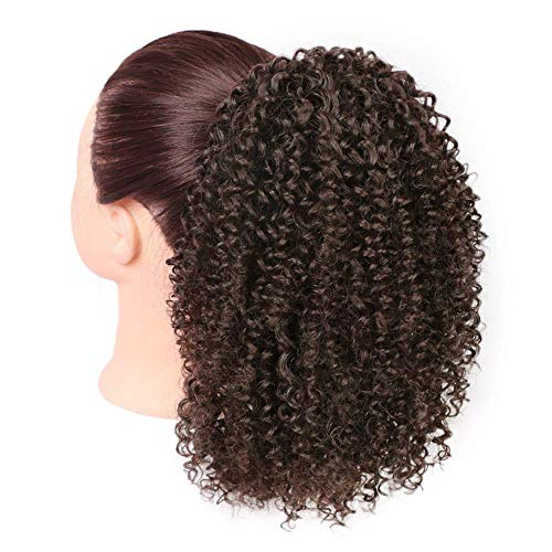 Afro Kinky Perücke lockige Clip Pferdeschwanz Gelockt Welle Haar Perücken mit Kordelzug Haarverlängerunge für African verworrene (Braune) 25cm 120g 009a