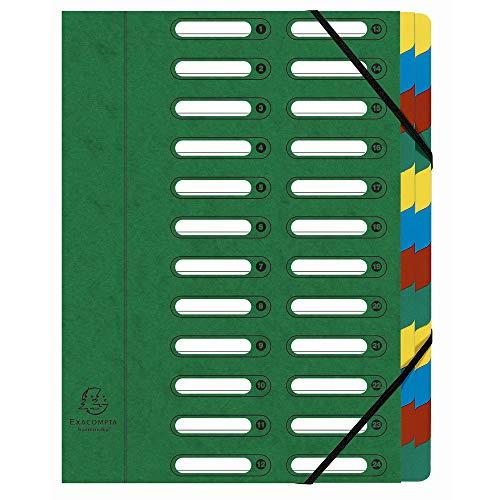 Exacompta 55243E Ordnungsmappe (Harmonika, DIN A4, 24 Fächer, Manila-Karton, Gummizug, Indexfenster) 1 Stück grün