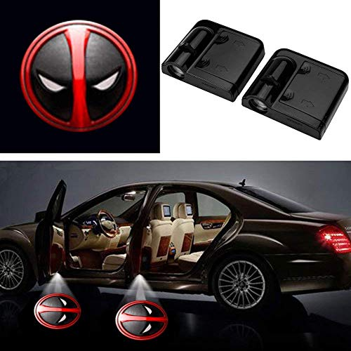 3D Ghost Shadow Emblems Wireless Door Logo Shadow Ghost Lights (2pcs) fit Ford Focus 2 Fiesta F150 Mondeo Transit Mustang etc (Deadpool Head)