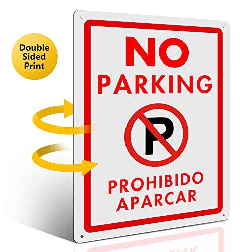 Señal de Prohibido aparcar y Prohibido estacionar bilingüe, MYSBIKERseñal de prohibido aparcar de aluminio reflectante, leyenda