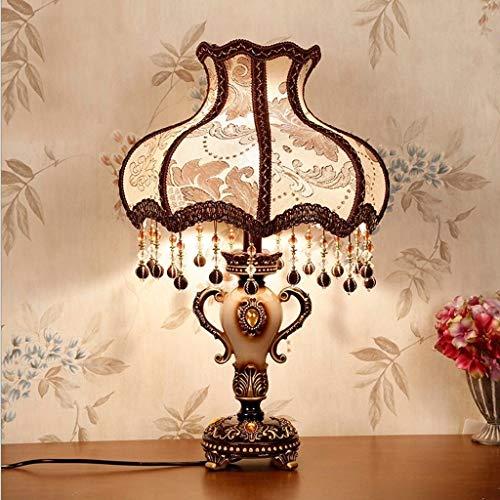 Agaidu Schlafzimmer Nachttischlampe Europäische Klassische Dekorative Harz Wohnzimmer Tischlampe Dekorative Lampe E27 Roten Tuch Lampenschirm [Energieklasse A +]