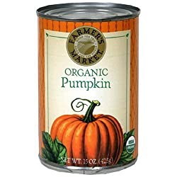 Farmer's Market Organic Pumpkin Puree 15 oz. Cans (Pack of 6) - SET OF 2