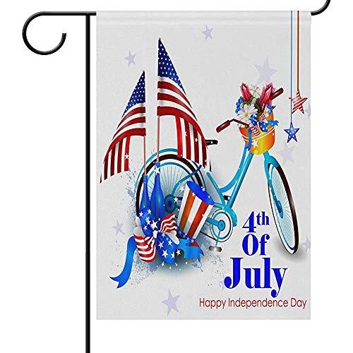 Tuinvlaggen 4 juli Onafhankelijkheid Dag Tuin Yard Vlag Banner Huis Home Decor 32X45.7CM,Amerikaanse Vlag Fiets Grote Decoratieve Dubbele Zijde Welkom Vlaggen voor Vakantie Bruiloft Party Buiten
