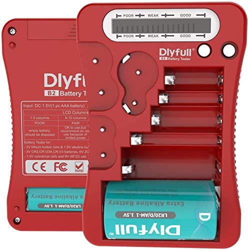 【Dlyfull B2 】ユニバーサル バッテリーテスターLCD表示、マルチ用途電池チェッカー 単1 単2 単3 単4 単5 9V CR123A CR2 CRV3 2CR5 CRP2 1.5V ボタン コイン電池など 乾電池専用(赤) …