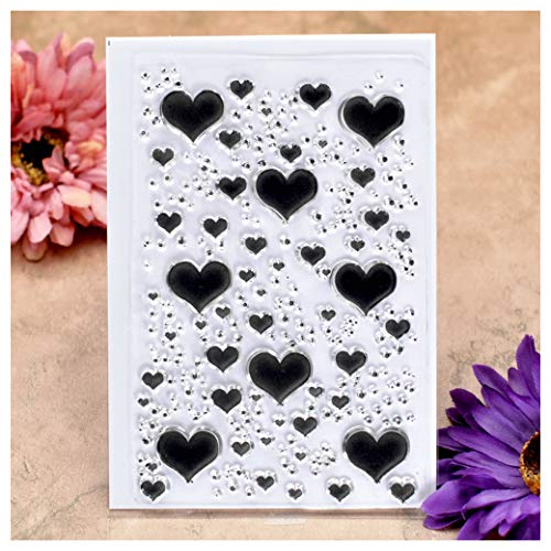 Kwan Crafts Heart Background Clear Stamps for Card Making Decoration and DIY Scrapbooking