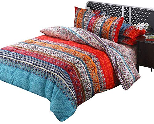 Ethnic Style Double Duvet - Bohemian Moroccan Microfiber Double Duvet Cover Bedding Set with Fitted Sheet and Pillow Case, by Fiona (200x230cm/ 79x91inch)