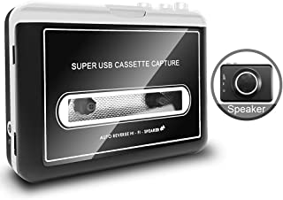 Upgraded Cassette to MP3 Converter with Removable External Speaker ,Portable Tap to Digital Converter Captures MP3 Audio M...