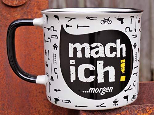 G.Handwerk Keramik Tasse Mach Ich! Morgen Emaille-Design Geschenk Kaffeetasse Becher