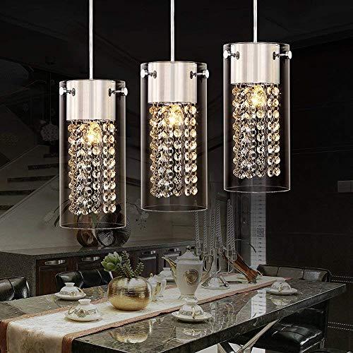 XKUN Lámpara Colgante de Techo de Cristal Elegante Y Moderna Lámpara Colgante de Lujo con Pantalla de Vidrio Redonda Lámpara de Araña de Cromo para Comedor Cocina Isla Bar Loft Pasillo Escalera Pasil
