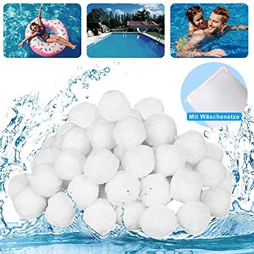 daliyer Filterballs Pool, Filterballs für Sandfilteranlagen, 700g Filterballe für Pool Filter, Umweltfreundlicher Ersatz für Quarzsand und 25kg Filtersand (Mit Wäschenetze)