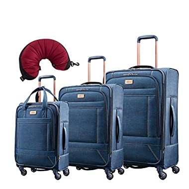 American Tourister Belle Voyage 4 Piece Set | 21 , 25 , 28 , Travel Pillow (Blue Denim)