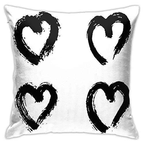 Fundas de cojín de algodón y poliéster pintadas a mano con estampado de corazones, fundas de almohada para sofá, decoración del hogar, 45,7 x 45,7 cm