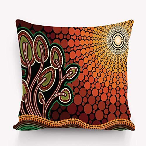 N\A Fundas de Almohada Funda de Almohada Decorativa Fundas de cojín con Cremallera Árbol Hill Arte aborigen Pintura Árbol Sol Naturaleza