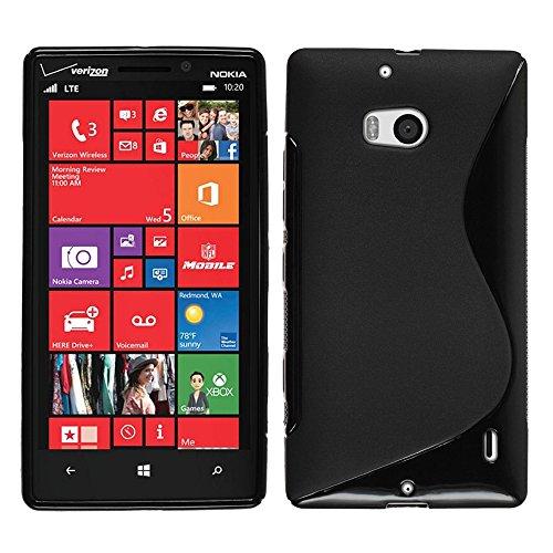 VComp-Shop S-Line - Cover in Silicone TPU per Nokia Lumia 930 + Pellicola Protettiva per Display, Colore: Nero