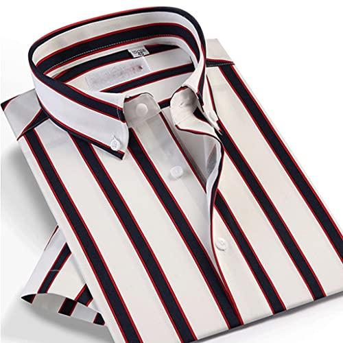 SLATIOM Camisa rayada casual de verano para hombre Bolsillo y collar de botones de ajuste estándar (Color :...